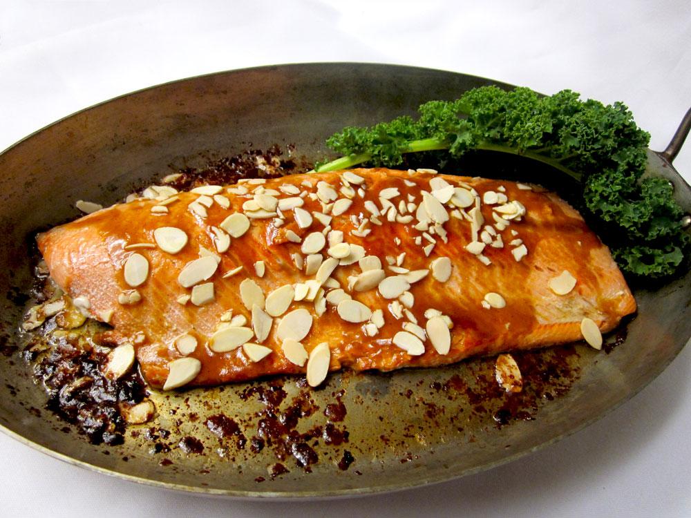 Pan-Seared Salmon with Sassy Almond-Sesame Sauce