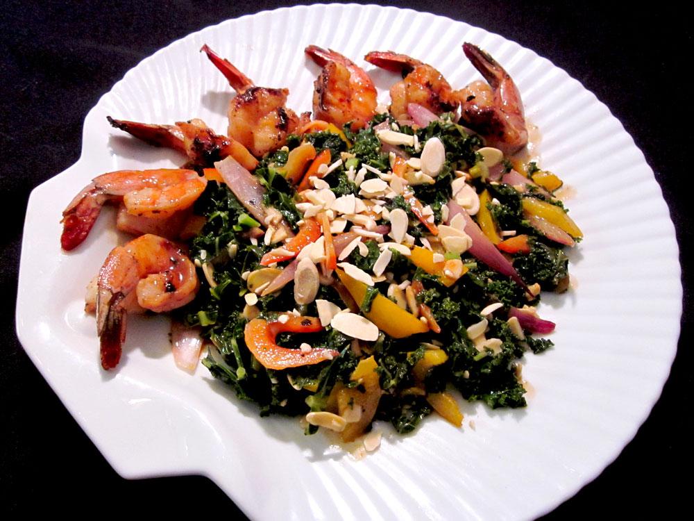 Warm Kale Salad with Prawns & Zena's Sassy Almond-Sesame Sauce