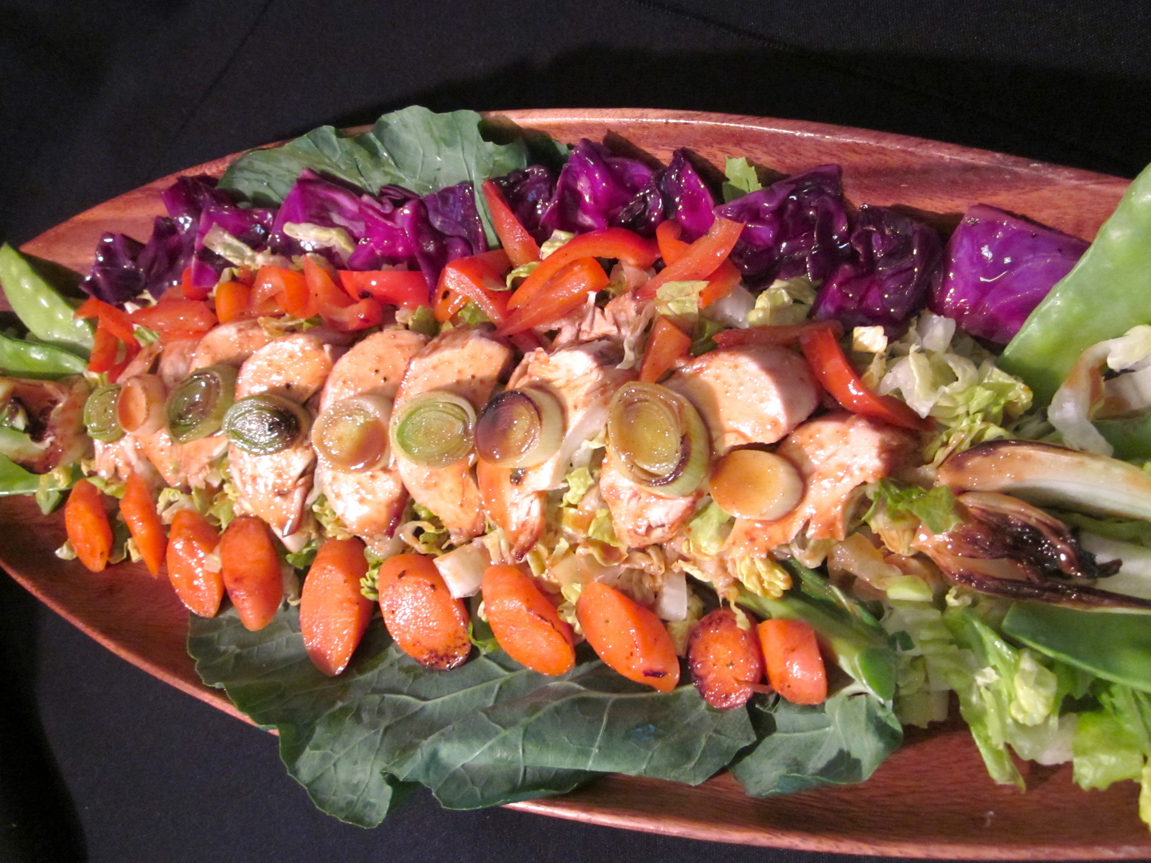 Chicken, Romaine & Veggie Salad with Sassy Peanut-Sesame Sauce