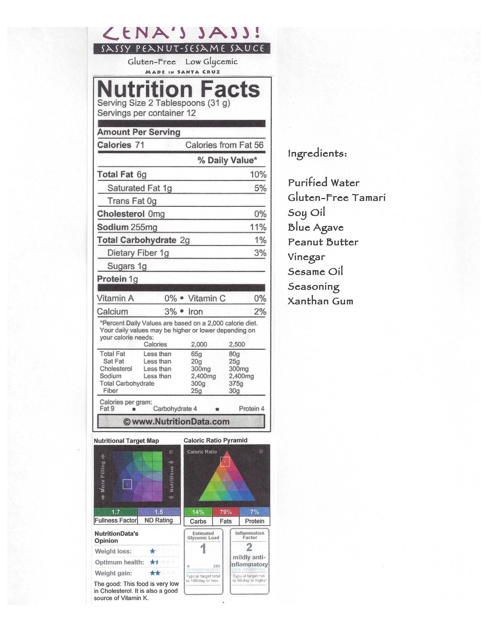 sassy-peanut-sesame-sauce-nutritional-information